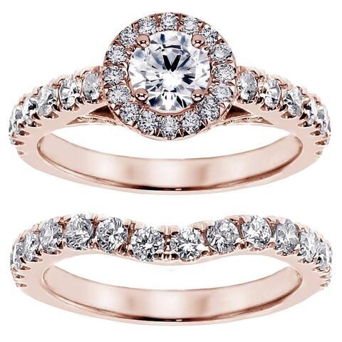 14k Rose Gold 2 1/6ct TDW Prong Set Brilliant Cut Diamond Encrusted Engagement Bridal Set