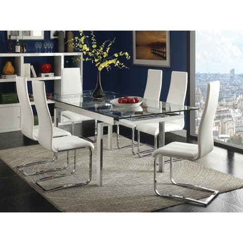 Modern Glass and Chrome Dining Table