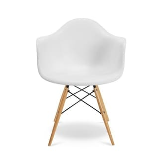 kids chair made of Polypropylene seat with durable wooden legs - White
