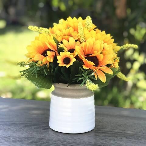 Enova Home Mixed Silk Sunflower Arrangement in White Ceramic Vase For Home Office Decoration
