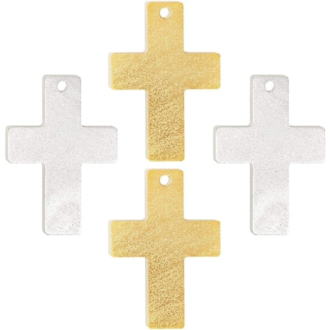 4x Metal Stamping Blanks,Cross Aluminum Tags with Hole, Silver Gold 2.4 x 3.4 in