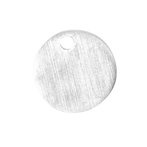 50x Metal Stamping Blanks, Flat Round Aluminum Tags with Hole, Silver, 0.78 inch - Silver