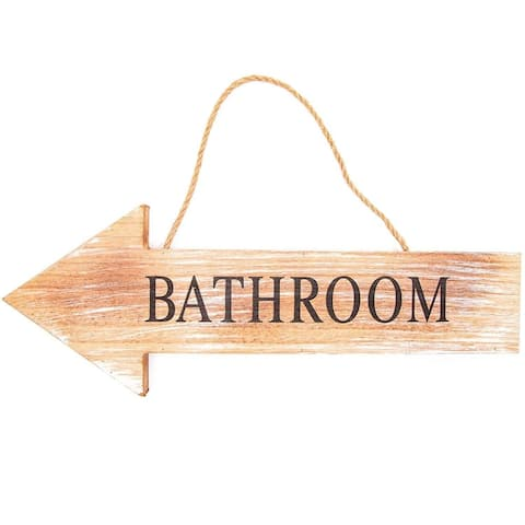 "15.5"" Hanging Bathroom on The Left Arrow Sign MDF Home Décor Rustic Wooden Sign"