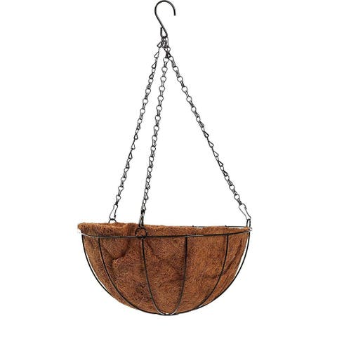 Metal Hanging Planter Basket with Natural Coco Coir Liner for Garden, 12 x 21 in