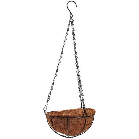 2 Pack Metal Hanging Planter Basket with Natural Coco Coir Liner, 8 x 21 inches