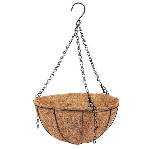 Metal Hanging Planter Basket with Coconut Coir Husk Flower Pot, 10 x 10 x 5.1 in