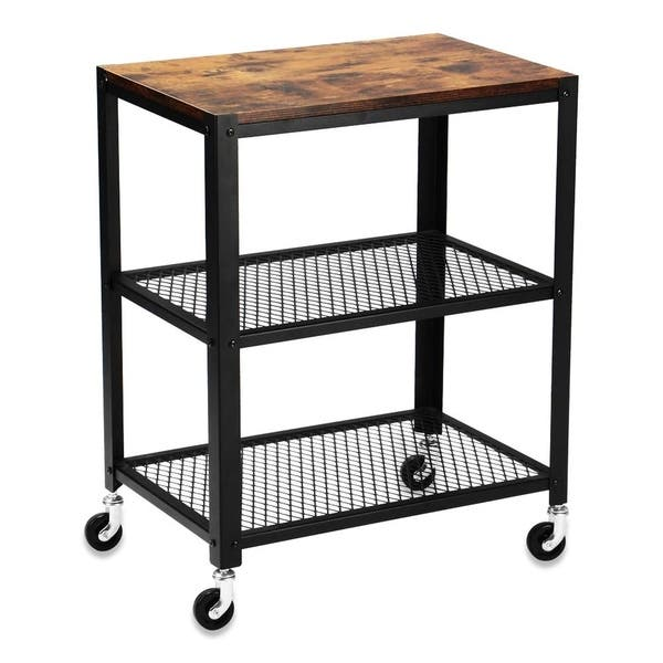 Superday 3 Tier Rolling Serving Cart Kitchen Utility Cart Black Overstock 31068791