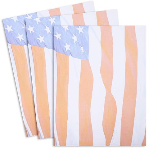 96 Sheet American US Flag Design Stationery Paper, Letter Size, Patriotic Pattern, Party Office Supply