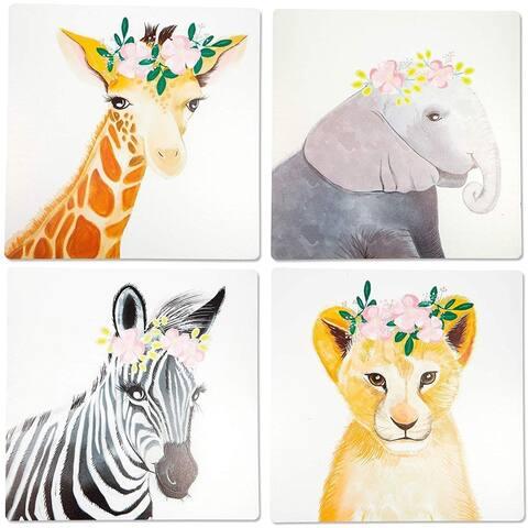 "4 Piece 10"" Square Inspirational Animals Nursery Decor Wall Art Jungle Poster"