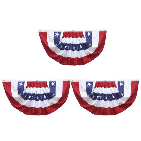 3-Pack Patriotic American Flag Bunting Pleated Fan USA Flag Banners for Outdoor