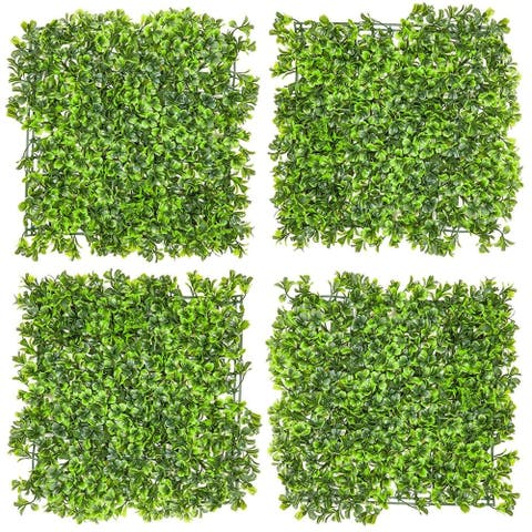 4x Artificial Boxwood Panels Fake Ivy Leaves Plants Hedge Indoor Outdoor Decor