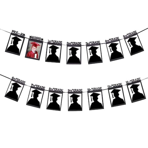 "10 ft Photo Graduation Banners Garland for High School Party Holds 5x7"" Pictures"