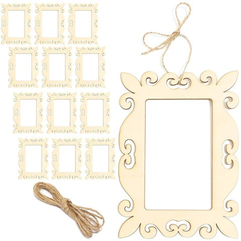 12 Packs Unfinished Mini Wood Frames, Wooden Frame Cutout for DIY Craft Home Decoration Project, 5 x 7 Inches