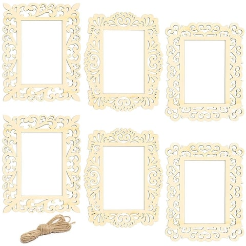 6x Unfinished Wood Frames Cutout with Jute String for DIY Craft Home 7 x 8.5""