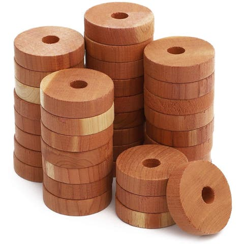36x 100% Natural Red Cedar Wood Rings for Clothes Storage, 1.5 x 1.5 x 0.3 inch