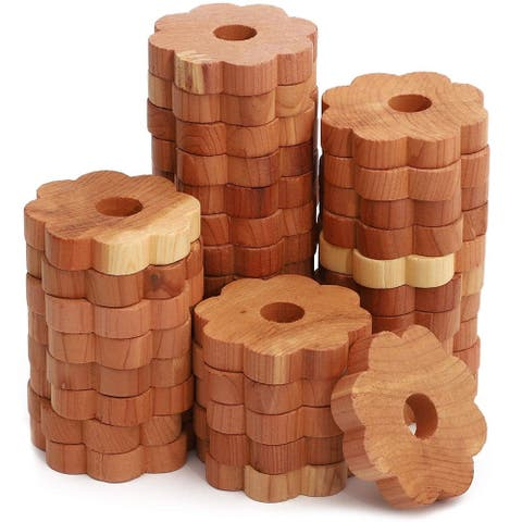 36x 100% Natural Red Cedar Flower Blocks for Clothes Storage, 1.9 x 1.9 x 0.3 in