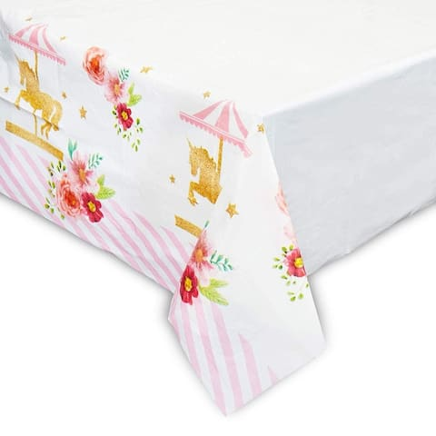 """3 Pack Carousel Party Tablecloth Table Cover, Birthday Party Supplies Favors Decorations for Girls Kids, 54 x 108"""""""