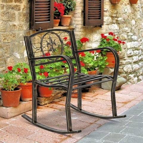 Outdoor Garden Accent Chair Iron Rocking Chair Gold Old