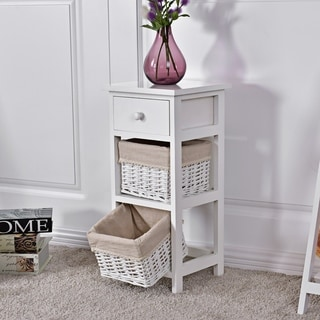 3 Drawers Bedside Table Wooden Nightstand Storage Cabinet White