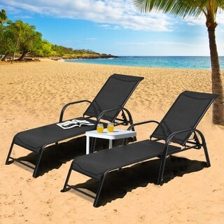 Set of 2 Outdoor Patio Lounge Chair Adjustable Chaise Recliner
