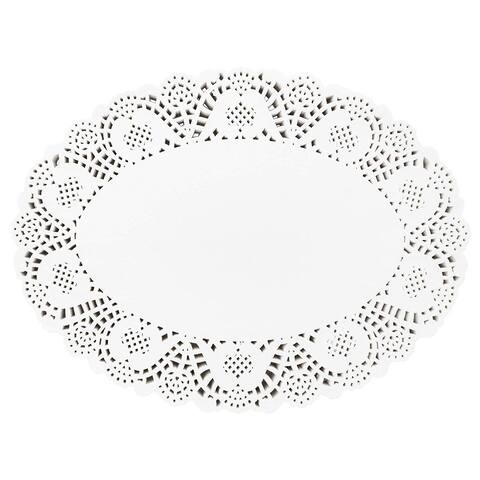 250 Piece White Disposable Oval Paper Doilies Lace for Art & Craft Pastry Decorations, 10 x 14 in