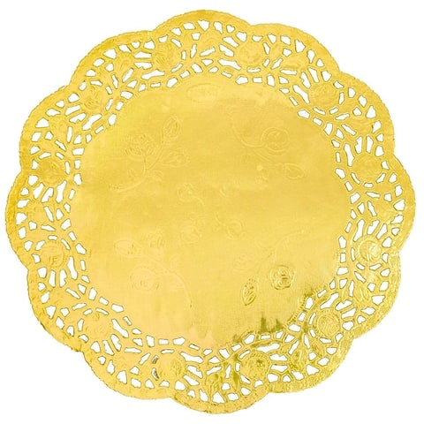 "100pcs Gold Round 8"" Paper Doilies Lace for Art Craft Wedding Party Table Decor"