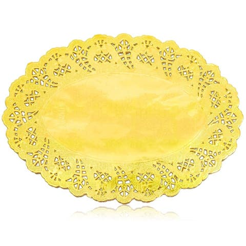 "100pcs Gold Oval 9"" Paper Doilies Lace for Art Craft Wedding Party Table Decor"