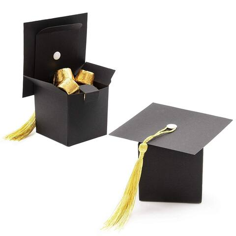 36 Packs Graduate Cap Treat Boxes Graduation Party Decoration Supplies for Candy Chocolate Gifts, 2.3 x 2.3 Inches