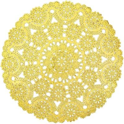 "60pcs Medallion Gold Round 12"" Paper Doilies Lace for Art Craft Table Decor"