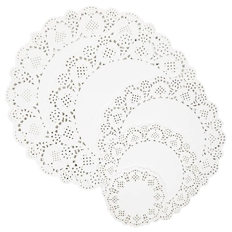 250pcs White Round Paper Doilies Lace for Art Craft Assorted for Party Decor