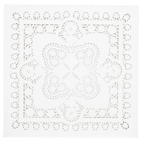 200 Piece White Disposable Square Paper Doilies Lace for Art & Craft Pastry Decorations, 8 x 8 in