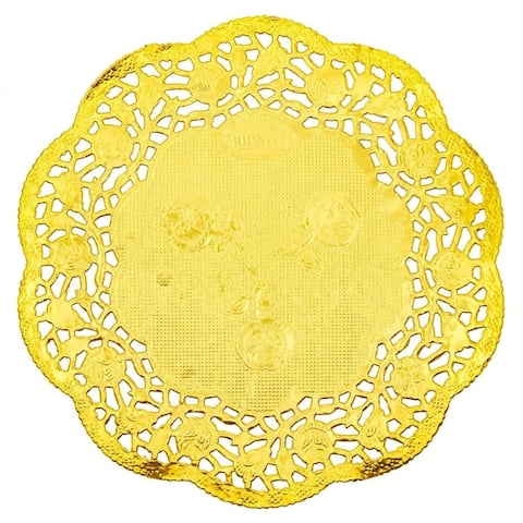 "300pcs Small Gold Round 4"" Paper Doilies Lace for Art Craft Wedding Table Decor"