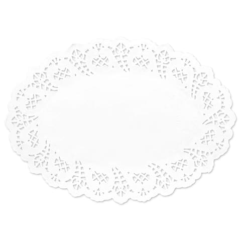 300 Piece White Disposable Oval Paper Doilies Lace for Art & Craft Pastry Decorations, 10,5 x 5 in