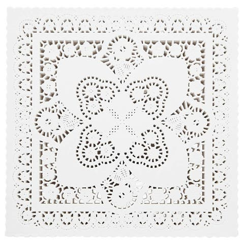 200 Piece White Disposable Square Paper Doilies Lace for Art & Craft Pastry Decorations, 10x10 in