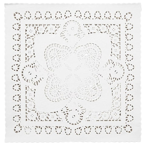 150 Piece White Square Paper Doilies Lace Placemats for Art & Craft Pastry Table Decorations, 12x12 in