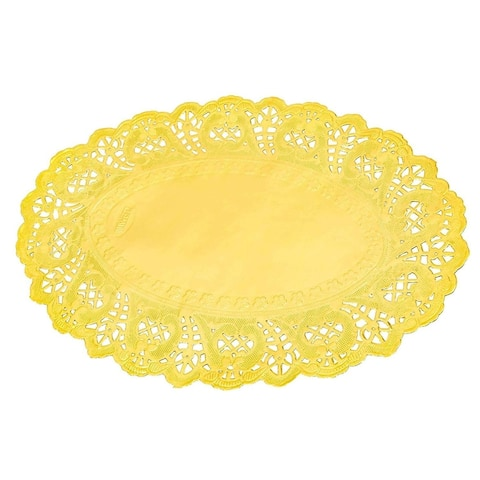 100 Piece Gold Disposable Oval Paper Doilies Lace for Art & Craft Pastry Decorations, 7.5 x 10.5 in