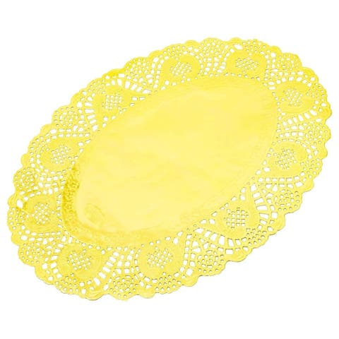 "100pcs Gold Oval 14"" Paper Doilies Lace for Art & Craft Wedding Table Decor"