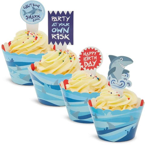 52x Shark Design Cupcake Wrappers Toppers for Party Baking Blue 3 x 2.1 x 2 inch