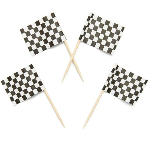 200x Racing Checkered Flag (1 x 1.3 in.) Toothpick for Party Appetizer Food Pick