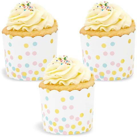 50x Confetti Gold Foil Cupcake Wrappers for Party Baking, White 2.75 x 2.2 inch