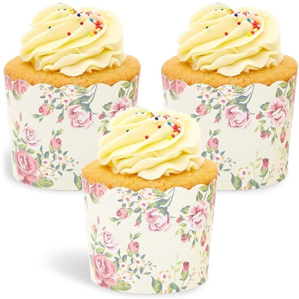 50x Floral Design Cupcake Wrappers for Wedding Party, Baking Muffins, Vintage. Opens flyout.