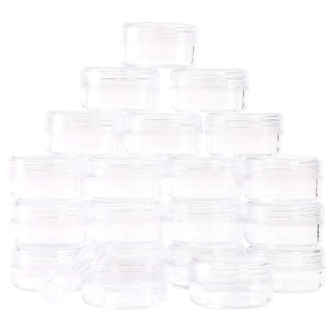 60x Round Plastic Pot Jars Cosmetic Containers with Lids 3 Gram 1.17 x 0.65 inch - 3 gram