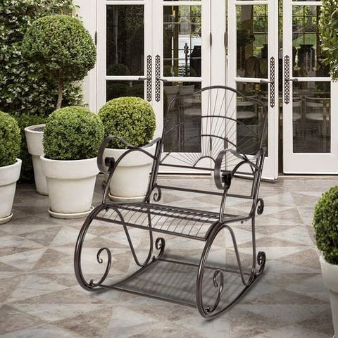 Vintage Sun Shape Garden Rocking Chair Patio Accemt Chair