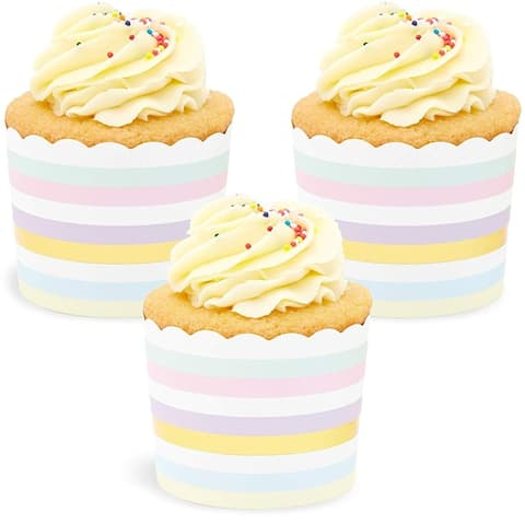 50x Pastel Colored Stripes Gold Foil Cupcake Wrappers for Party, 2.75 x 2.2 inch
