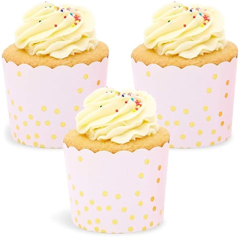 50x Rose Gold Foil Confetti Cupcake Wrappers for Party Baking Pink 2.75 x 2.2 in