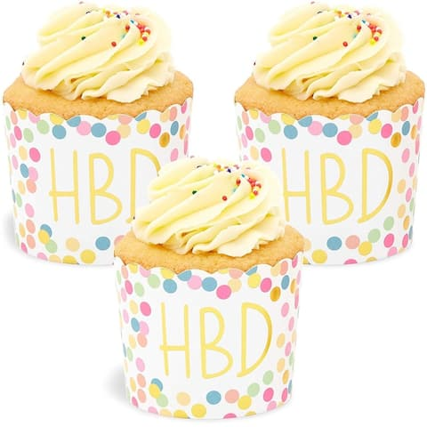 50x HBD Happy Birthday Gold Foil Cupcake Wrappers for Party Baking 2.75 x 2.2 in