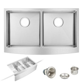 "33"" x 20"" Farmhouse Kitchen Sink Apron Front Double Bowl Stainless Steel"