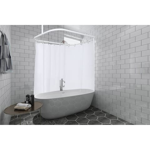 Utopia Alley Hoop Shower Rod for Clawfoot Tub, White