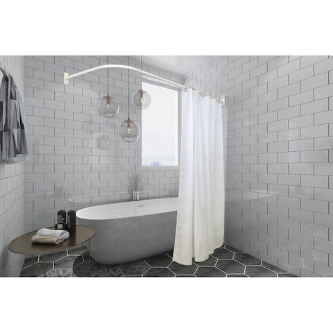 Utopia Alley Rustproof L-Shaped Corner Shower Curtain Rod, White