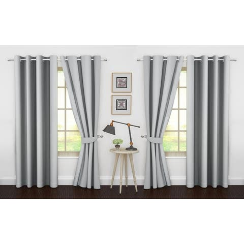 Ample Decor Thermal Insulated Grommet Blackout Curtains for Bedroom (4 Panel)